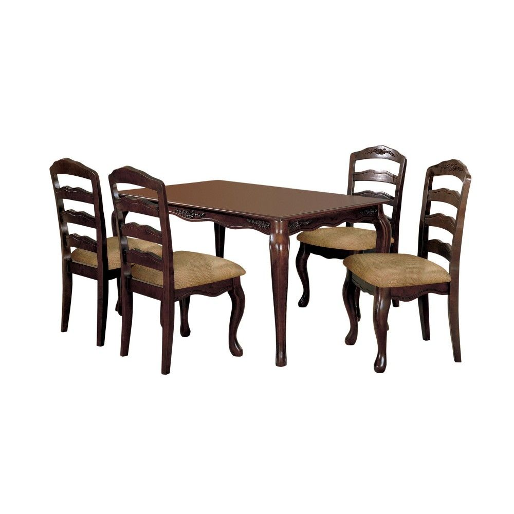 Set Of 2 Danburn Floral Accented Ladder Back Side Chair Dark Walnut Iohomes Adult Unisex Brown Dining Furniture Sets Dining 7 Piece Dining Set