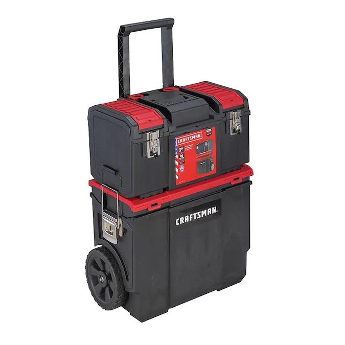 Craftsman Diy 19 In Red Plastic Wheels Lockable Tool Box Lowes Com In 2021 Tool Box On Wheels Mobile Workshop Tool Box Storage
