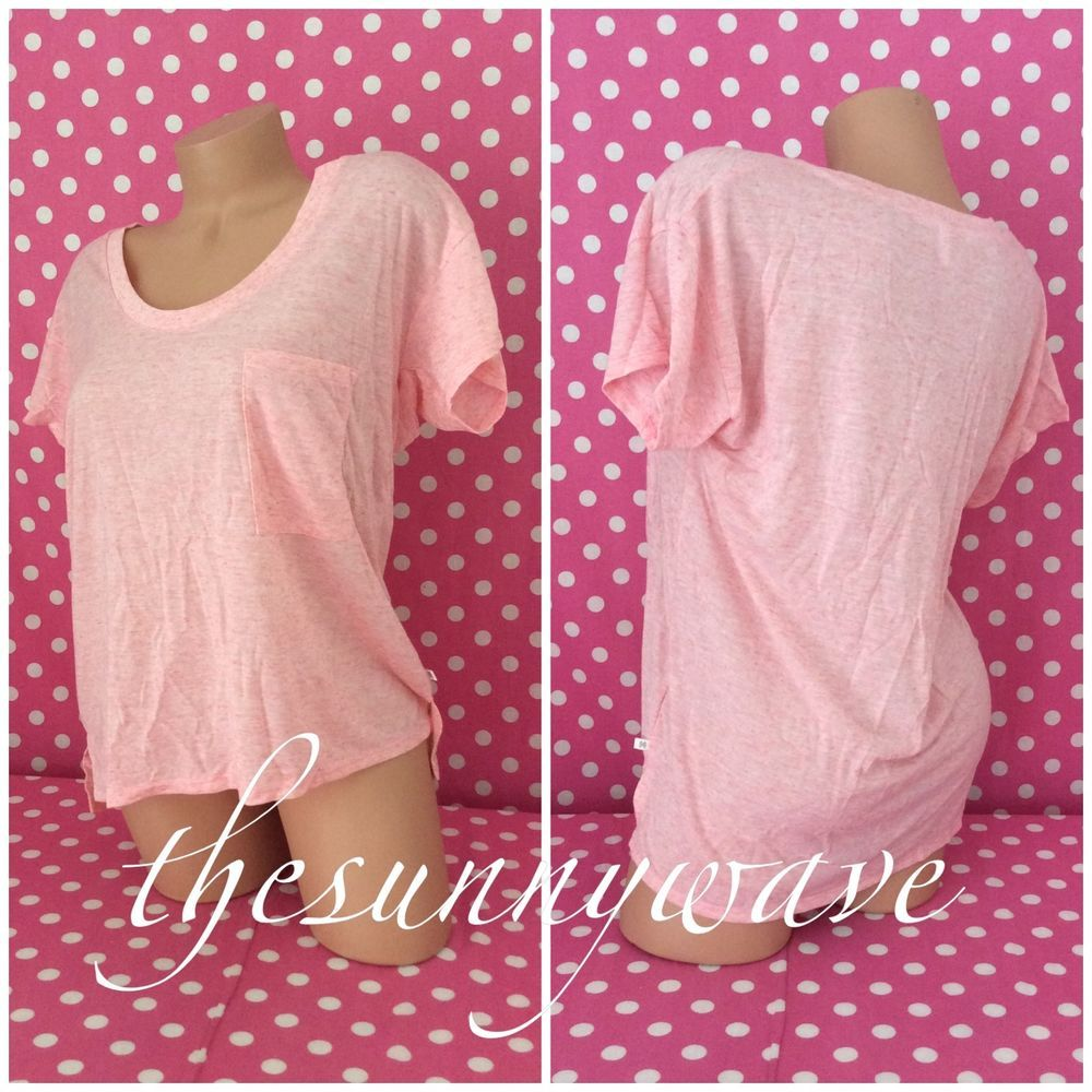 42782c662f6198 Victoria Secret Pink Slouchy Top Pocket Off-the-Shoulder T-Shirt High-Low  NWOT M