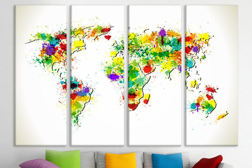 Three piece world map wall art map world frame world map map for three piece world map wall art map world frame world map map for wall world map personalized world map 3 panel custom canvas large world map gumiabroncs Choice Image