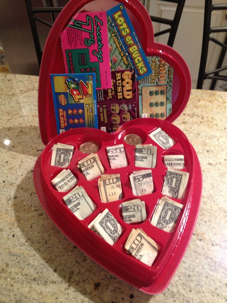 valentine chocolate heart box with cash and lottery tickets perfect valentine gift for your college