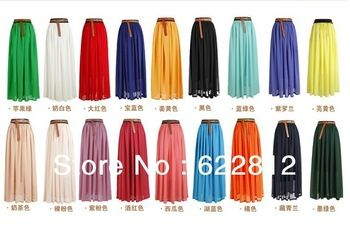 Fashion 2013 Spring & Summer Bosnian Solid, Big Sweep Chiffon Long Skirt, Chiffon Pleated Skirt, Long Veil Skirt  No Belt