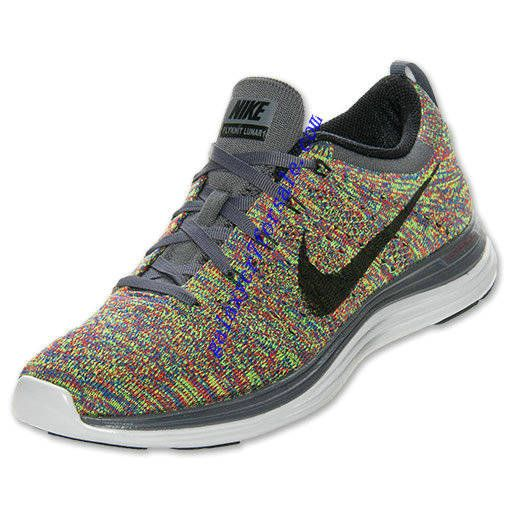 Men's Nike Flyknit Lunar 1+ Multi Color Dark Grey Black Blue Sneakers : O9g2148