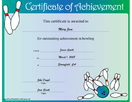 This Bowling Certificate Honors Achievement In The Sport And Shows A Strike Free To Download Print