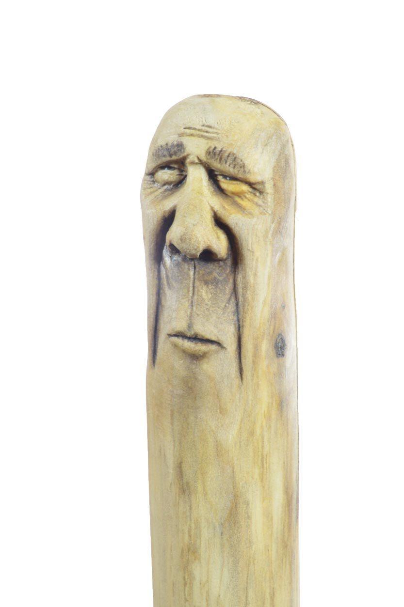 Wood walking stick sculpture hand carved carving