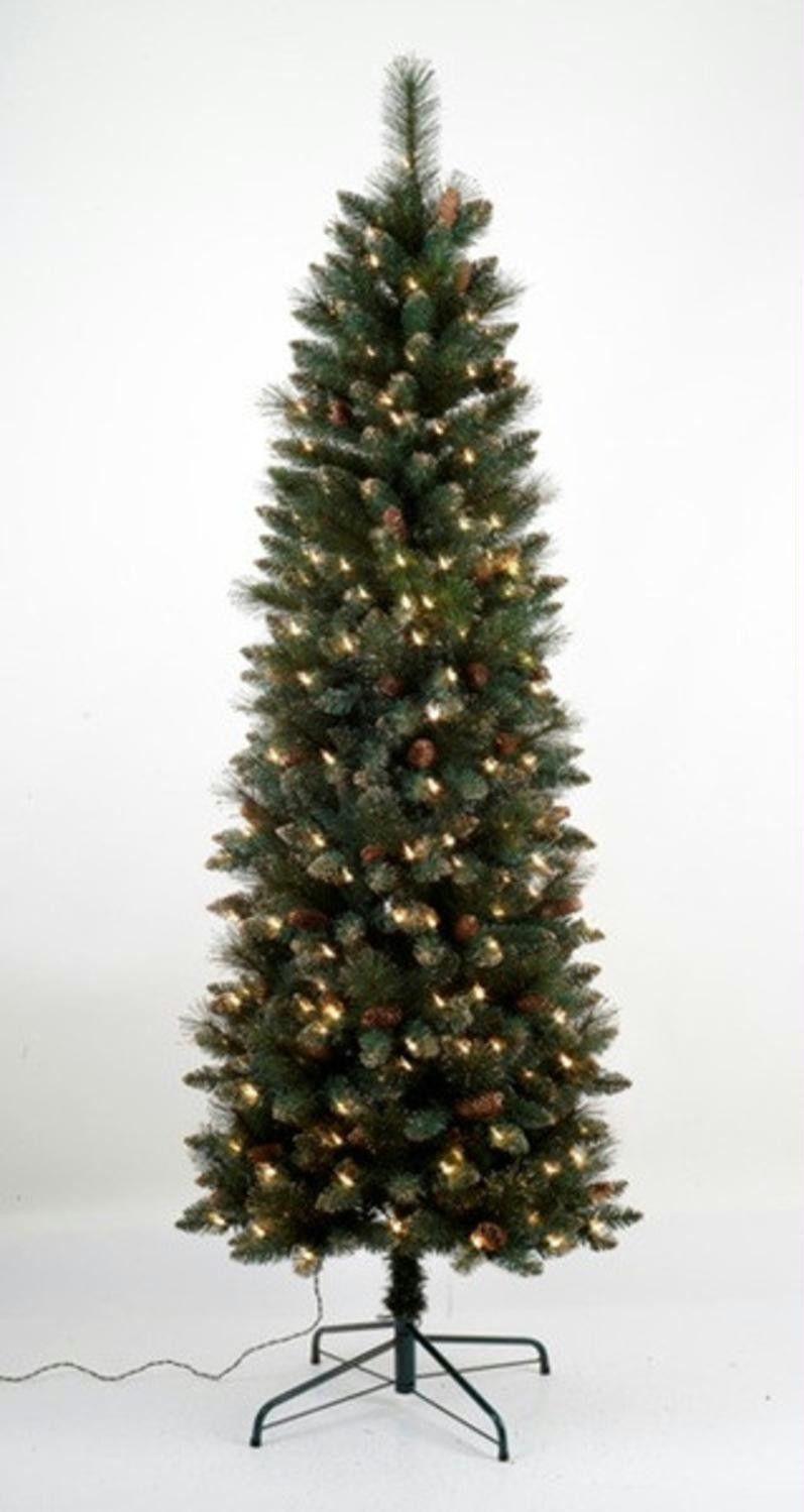 45 pre lit yorkville pine pencil artificial christmas tree clear lights - Pre Lit Pencil Christmas Tree