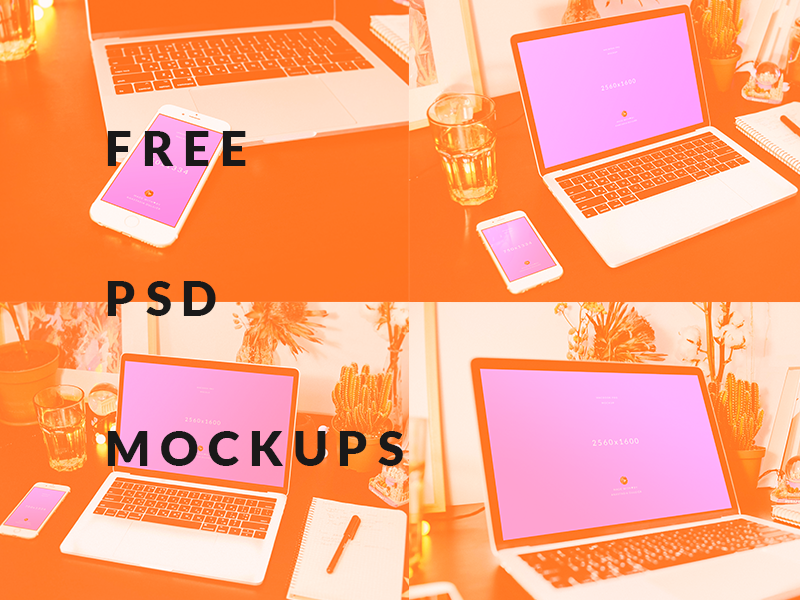 4 Free PSD MacBook + iPhone 6s Mockups Pack