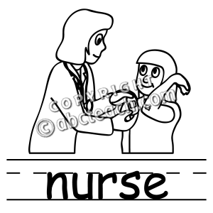 Clip Art Basic Words Nurse B W Labeled Abcteach Nurse Clip Art Clip Art Nurse