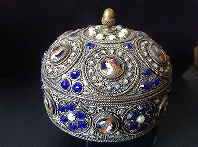 French Box with 13 Enamled Cartouches Pearls and blue stones Vintage