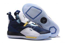 939f793df37 Air Jordan 33 XXXIII Future of Flight White Navy Blue Sneakers Men's  Basketball Shoes