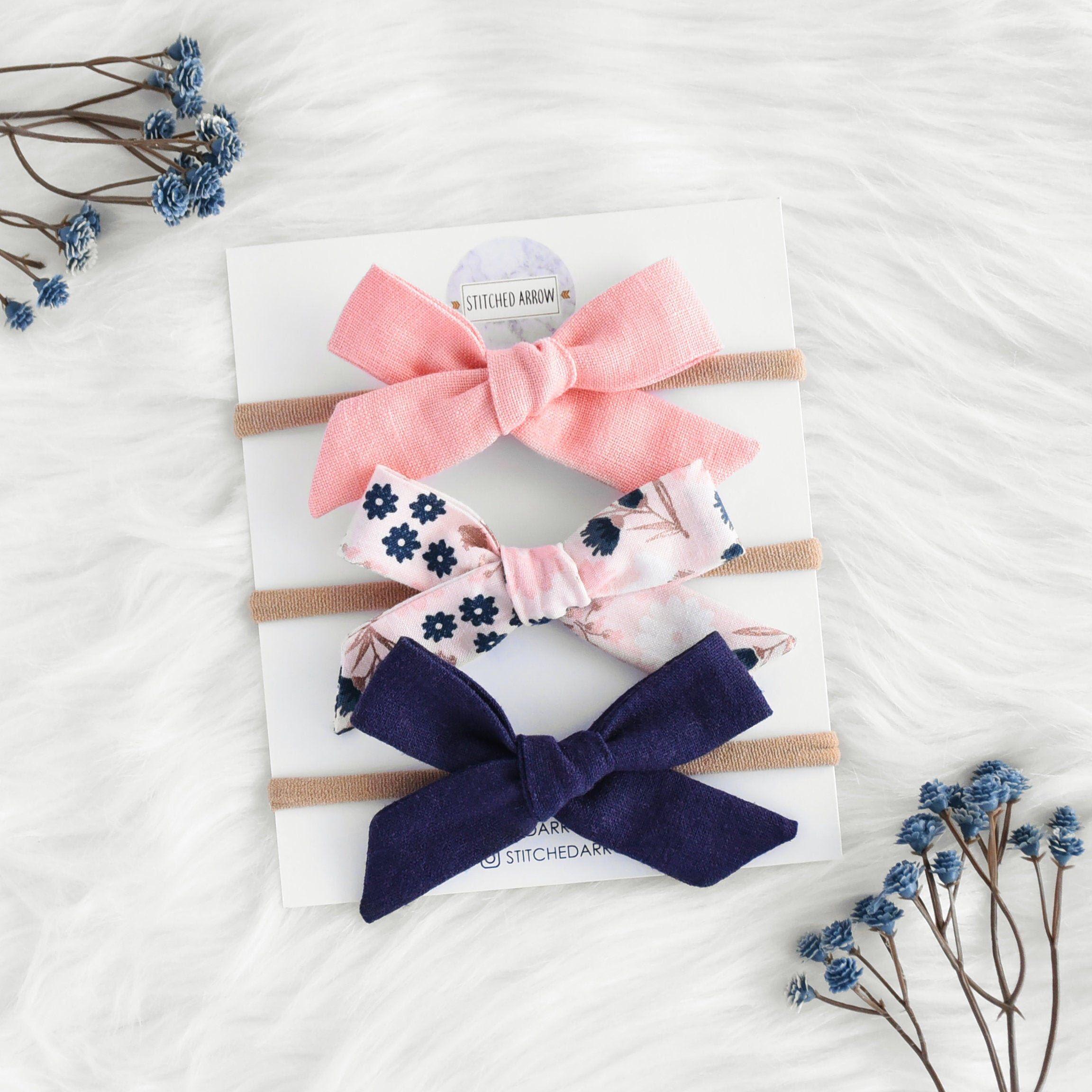 Mini Set Of 3 Fabric Bows Soft Elastic Newborn Baby Toddler Girl Headband Gift
