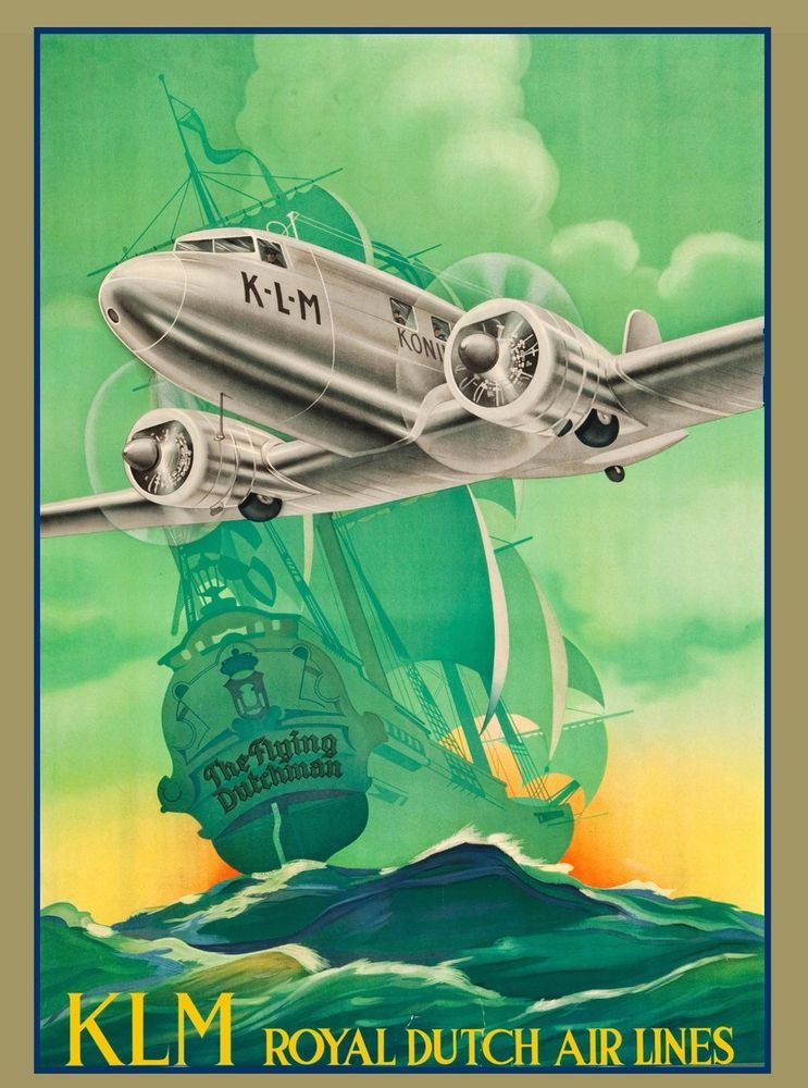 Royal Dutch Holland Netherlands Vintage Travel Advertisement Art Poster