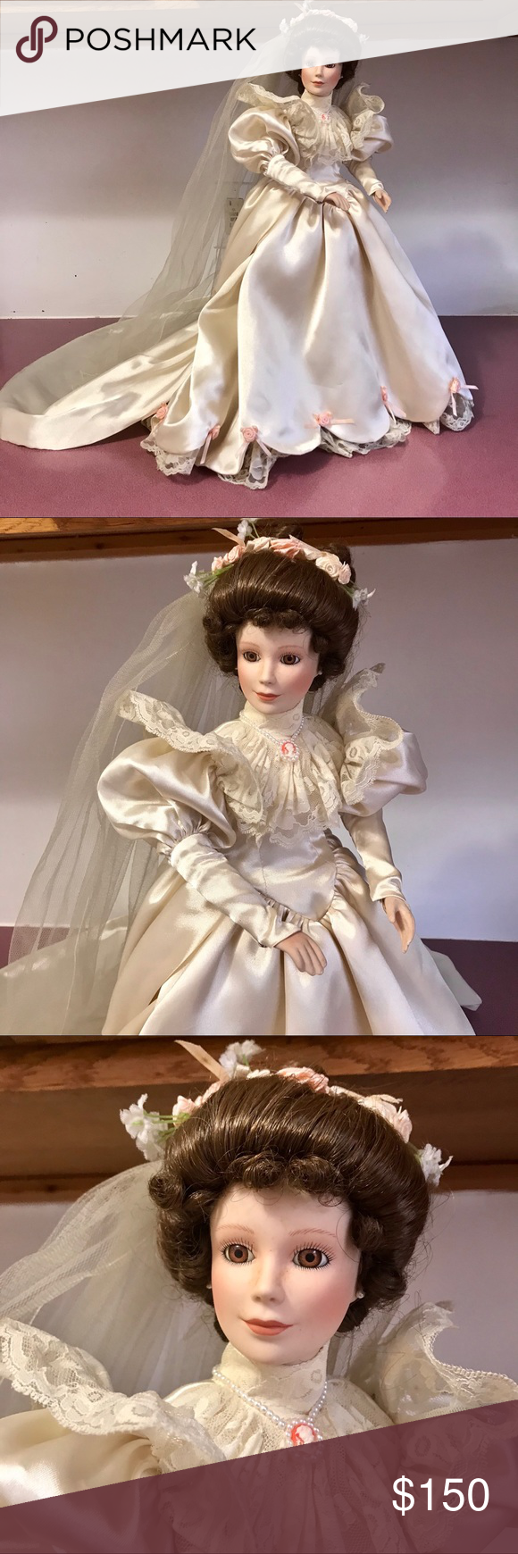 ♥️ Ashton Drake's Elizabeth Wedding Porcelain Doll Vintage Very Elegant 1900 Ashton Drake's Elizabeth Porcelain Doll, This Day Forward Collection, Elizabeth Wedding Dress style 1900's 1st in Series.    This is a beautiful Bride doll designed by Phil Tumminio for Ashton Drake.   This handcrafted porcelain doll,  Ashton Drake Bride Doll is a Set of 4 Ashton Drake Bride Dolls From This Day Forward collection.   Approx 19 Porcelain Doll Is In Preloved Condition. The Doll Stand Is Included. Ther #dollvictoriandressstyles
