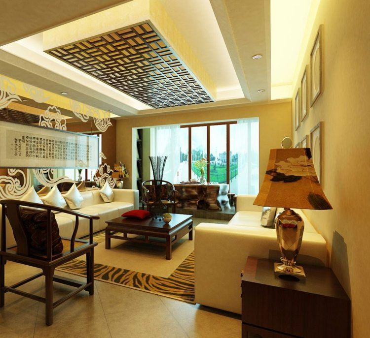 moderne gestaltung der wohnzimmer decke mit paneelen im. Black Bedroom Furniture Sets. Home Design Ideas