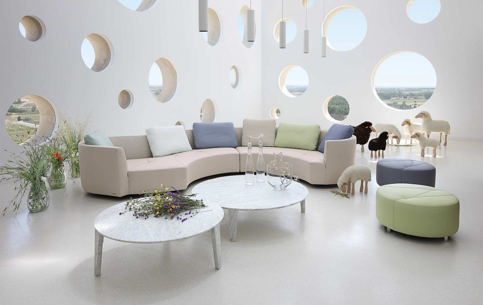 Living Room Amazing Roche Bobois Furniture White Curved Sofa Round