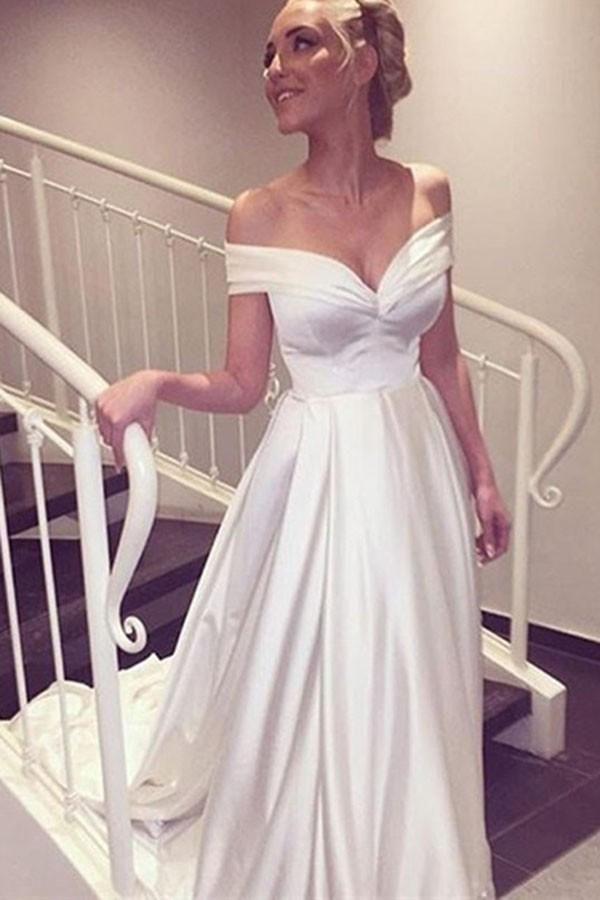 Off Shoulder Satin Beach Wedding Gown