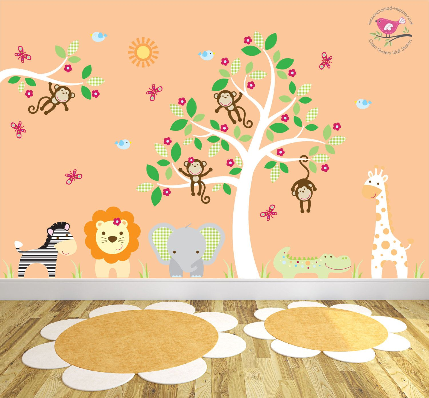 Jungle Wall Decal featuring friendly safari animals and swinging ...