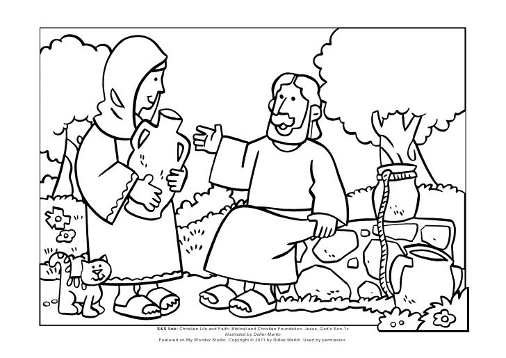 Mws l1 coloring page jesus and the woman at the well by for Woman at the well coloring pages