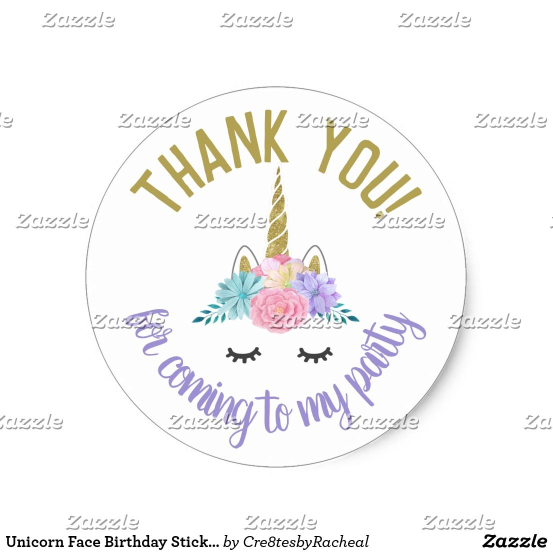 Unicorn face birthday stickers round labels unicorn face unicorn face birthday stickers round labels ccuart Gallery