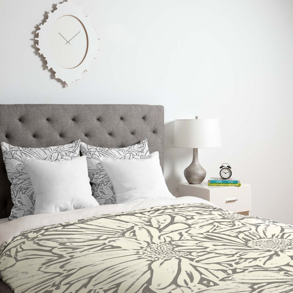 Lisa Argyropoulos Daisy Daisy Dove Gray Duvet Cover | DENY Designs Home Accessories