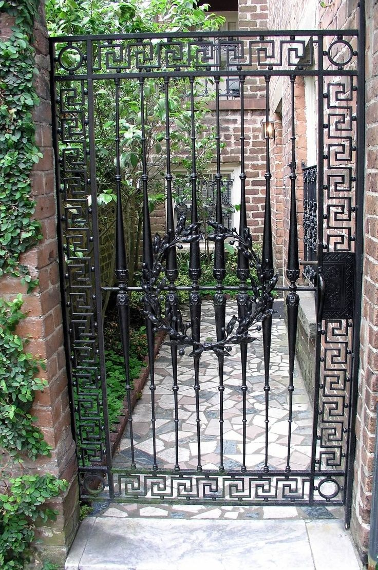 Greek Key Wrought Iron Garden Gate In Savannah Georgia
