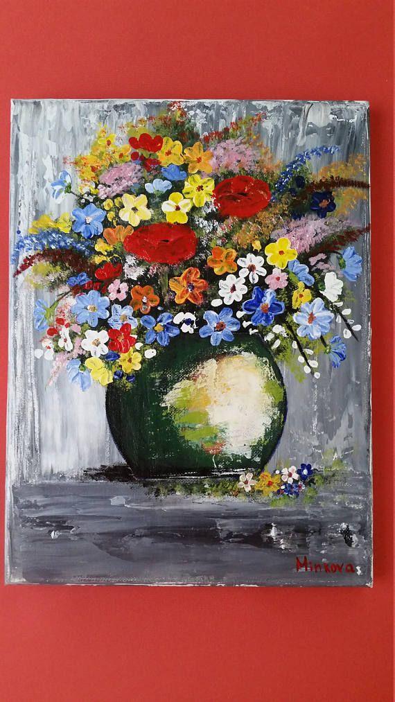 Flower Vase Painting Bouquet Of Flowers Original Acrylic Flower