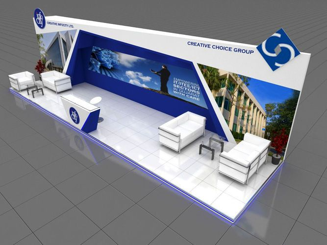 Exhibition Stall Material : Exhibition stall 3d model 9x3 mtr 3 sides open 3d model max 1