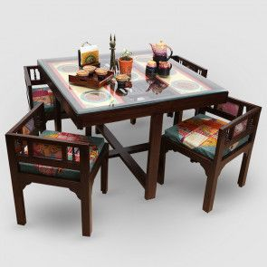 Teak Wood 4 Seater Dining Table Square Dining Tables Four