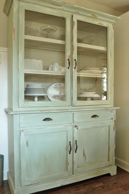 Newer piece of furniture became this beautiful antique looking hutch.  byJennifer Rizzo - Newer Piece Of Furniture Became This Beautiful Antique Looking Hutch