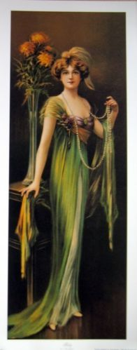 art print~RUBY~Victorian tall lady Green dress C. Allan Gilbert vtg repro 12x30