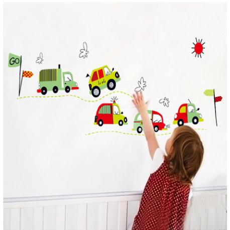 Sticker voitures camions bus pour chambre denfants deco