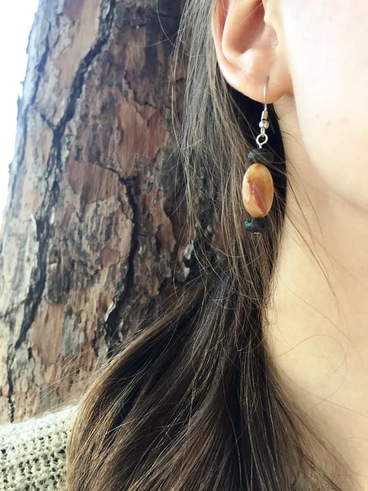 Agate and lava rock earrings