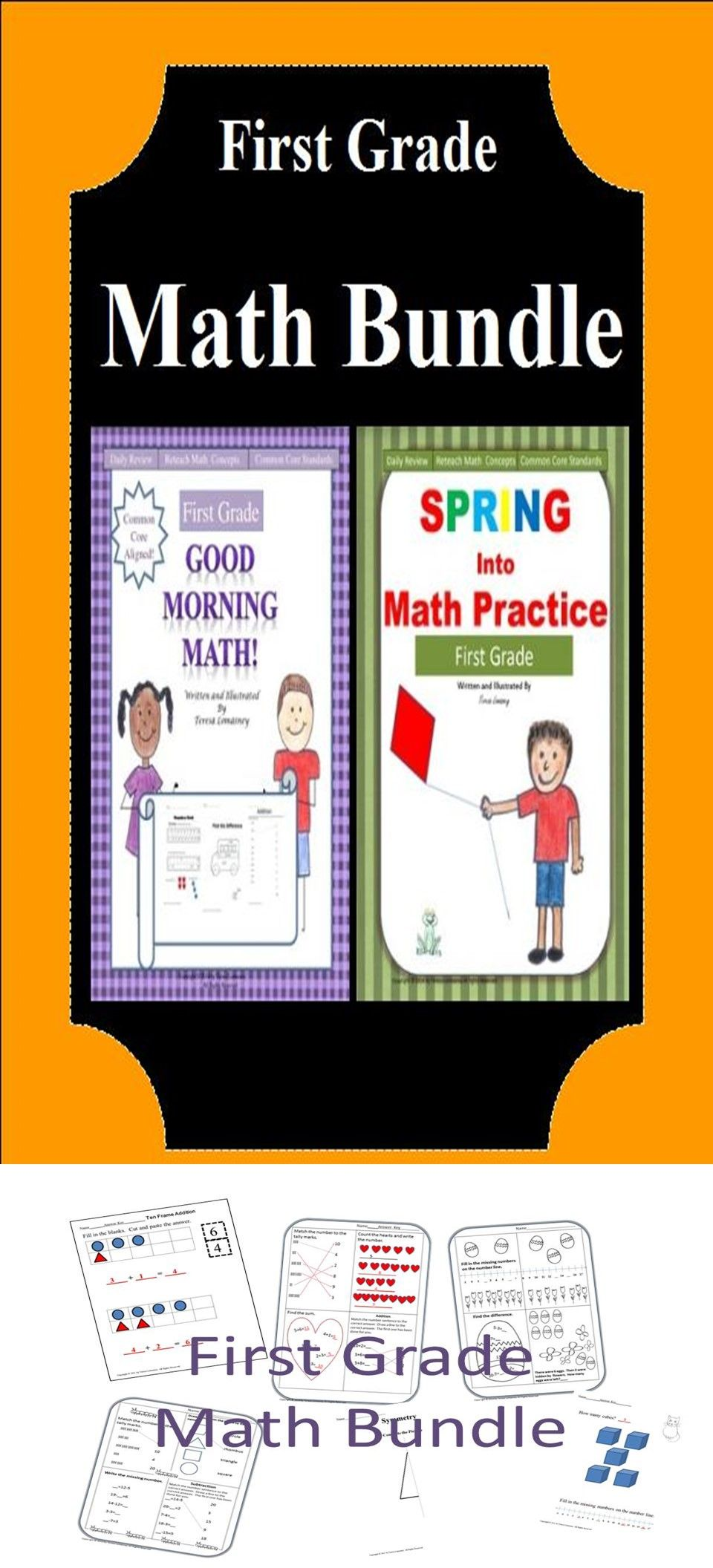 First Grade Math Bundle Good Morning Math And Spring Into Math Are Bundled Together This Daily Math Practic Early Education Math Math Bundle First Grade Math [ 2112 x 960 Pixel ]