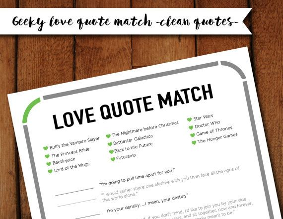 Geeky Nerdy Love Quote Matching Printable Game With Quotes From Doctor Who Futurama