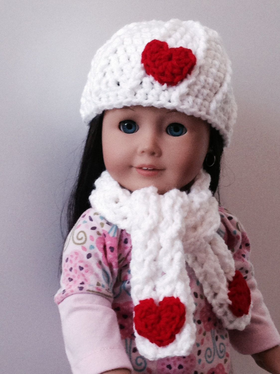 Handmade crochet white hat and scarf with red Hearst for American girl 9f617baece70