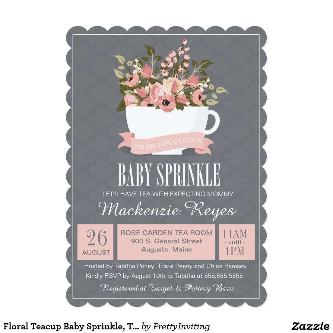 Floral Teacup Baby Sprinkle, Tea Party Invitation | Tea party ...