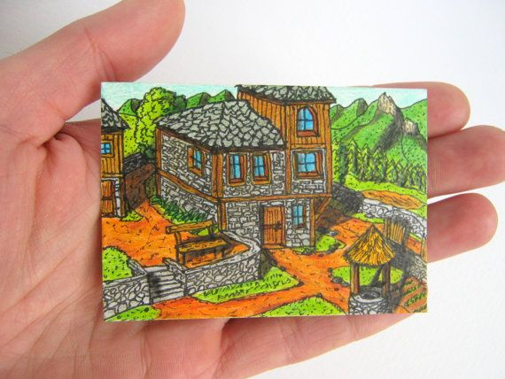 ACEO ink and pencil artwork ACEO ATC card by ExiArtsConceptWorlds, $8.00