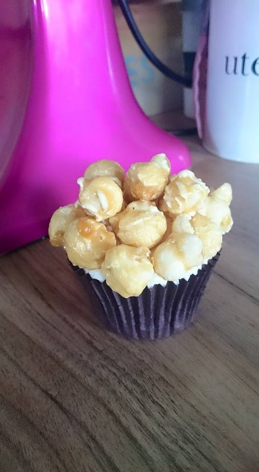 Vegan and gluten free caramel popcorn cupcakes. This is a really fun treat, with handmade caramel popcorn topping a light caramel frosting and vanilla sponge. Fancy it? Order here - www.cakebyshannon.co.uk