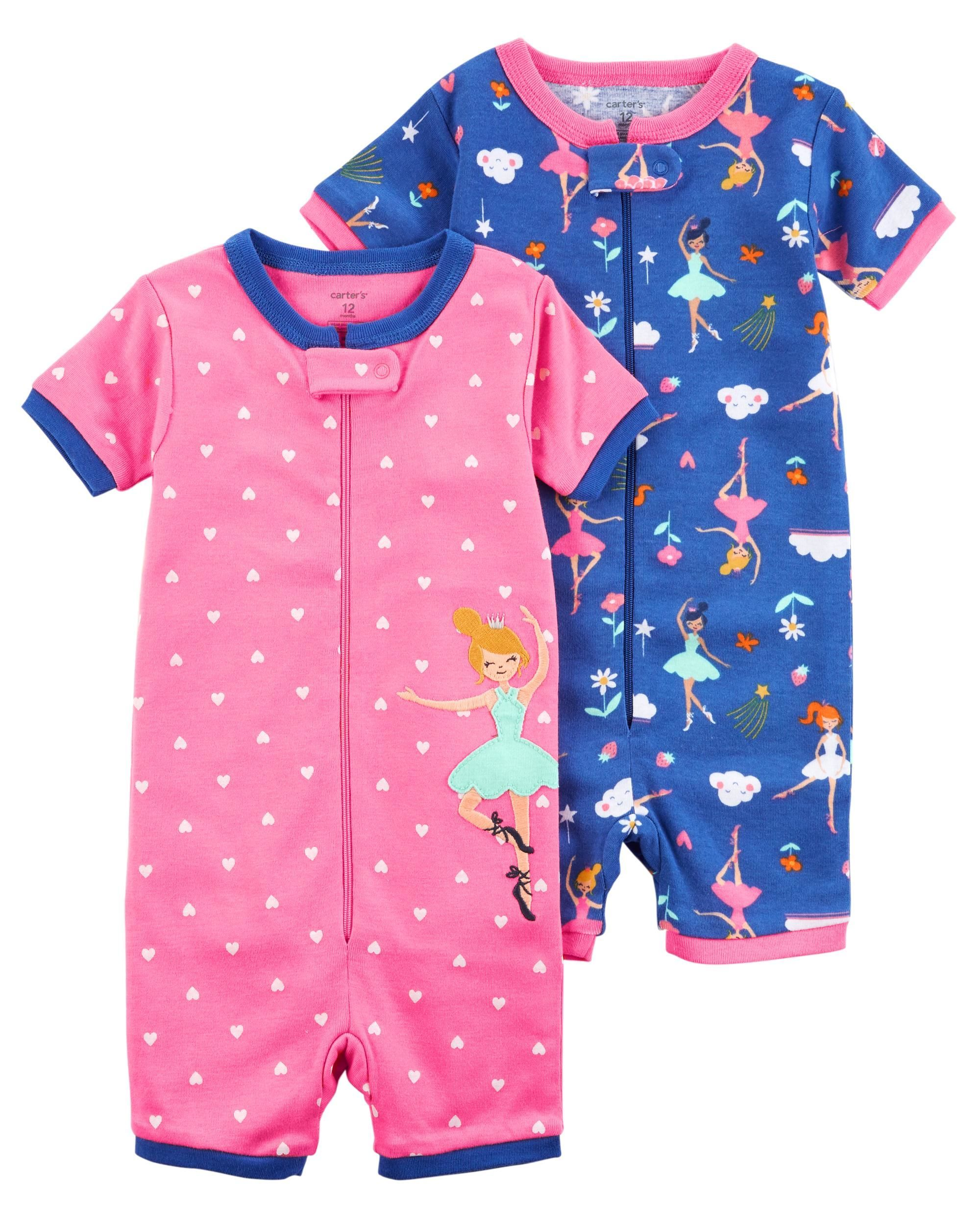 e3b90343c294 2-Pack Zip-Up Snug Fit Cotton Romper PJs
