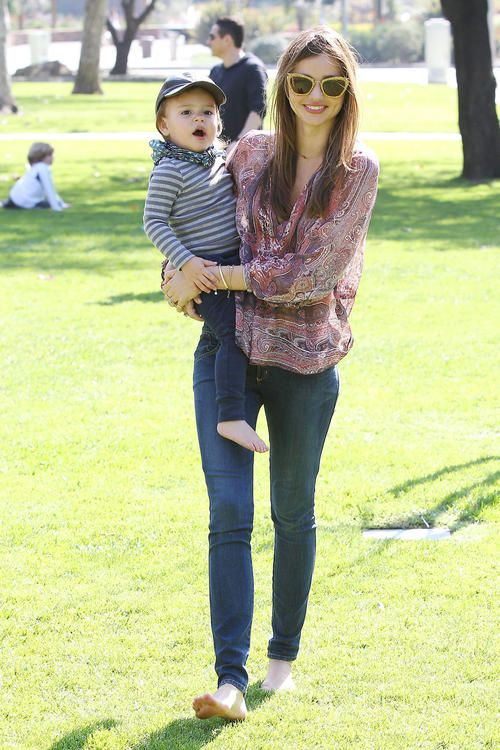 Victoria's Secret Miranda Kerr hits the park in Los Angeles with baby Flynn