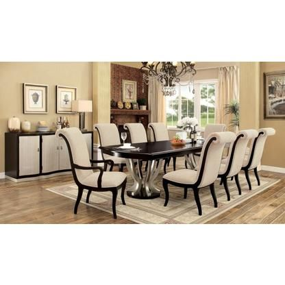 Furniture Of America 7 Pc Ornette Collection Contemporary Style Espresso  And Silver Finish Wood Dining Table Set