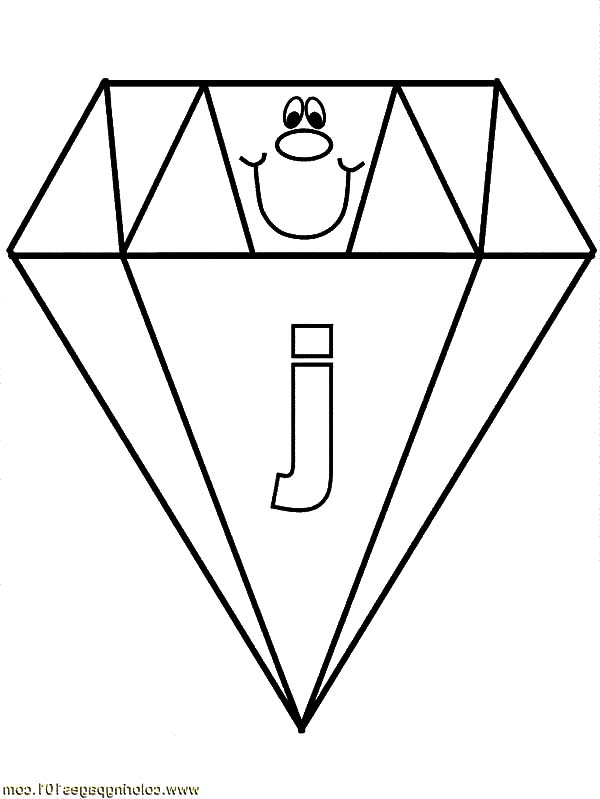 Letter J On Diamond Shape Coloring Pages Kids Play Color