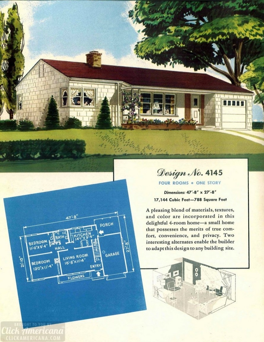 130 Vintage 50s House Plans Used To Build Millions Of Mid Century Homes We Still Live In Today In 2020 Vintage House Plans Mid Century House House Plans