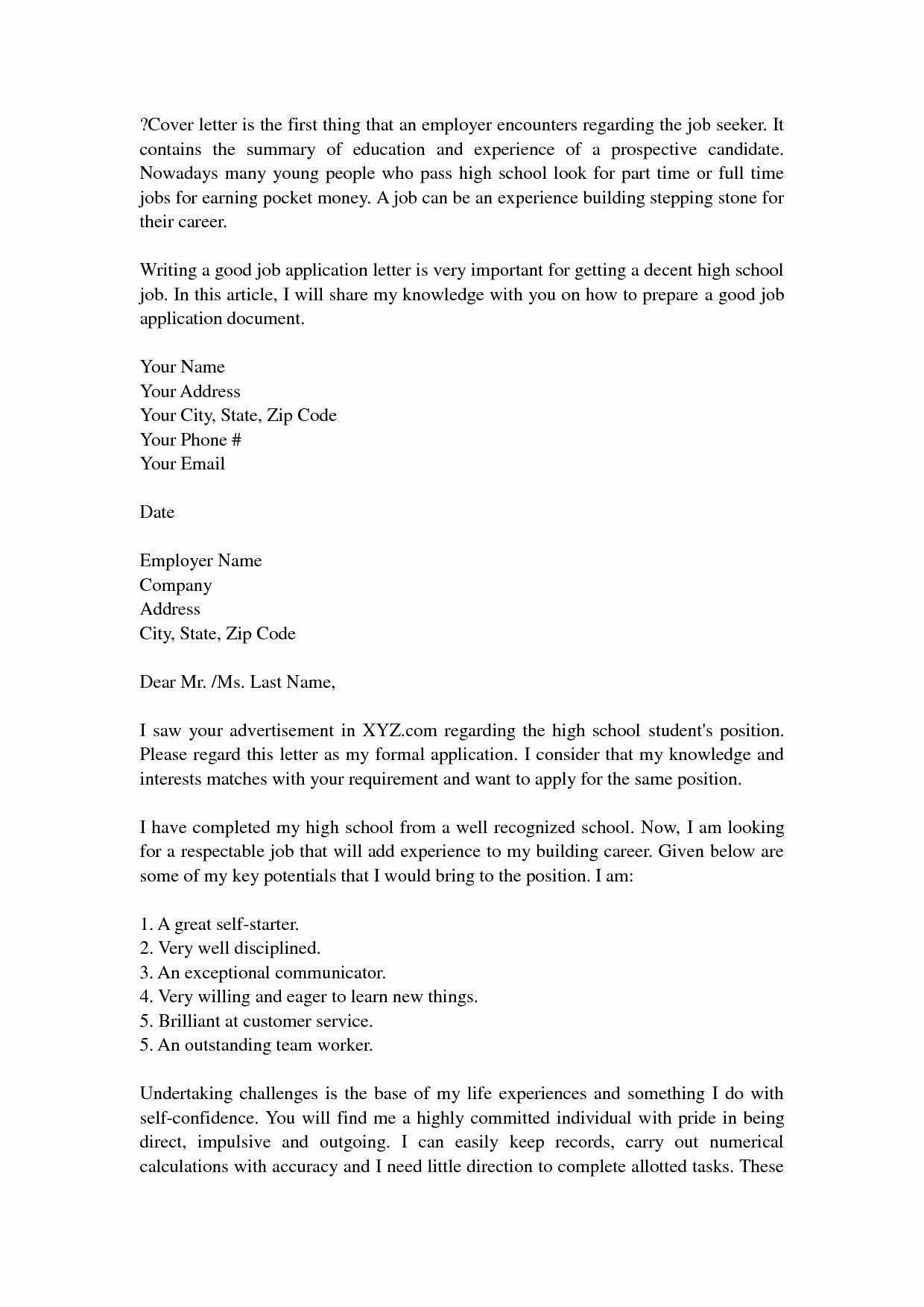 Formal Cover Letter High School Application Letter Image Collections  News To Go 2 .