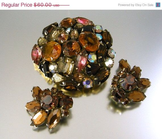 SALE 20% OFF Vintage Kramer of New York Multi Colored Rhinestone Brooch and Earrings Demi Parure by worn2perfection on Etsy https://www.etsy.com/listing/171121456/sale-20-off-vintage-kramer-of-new-york