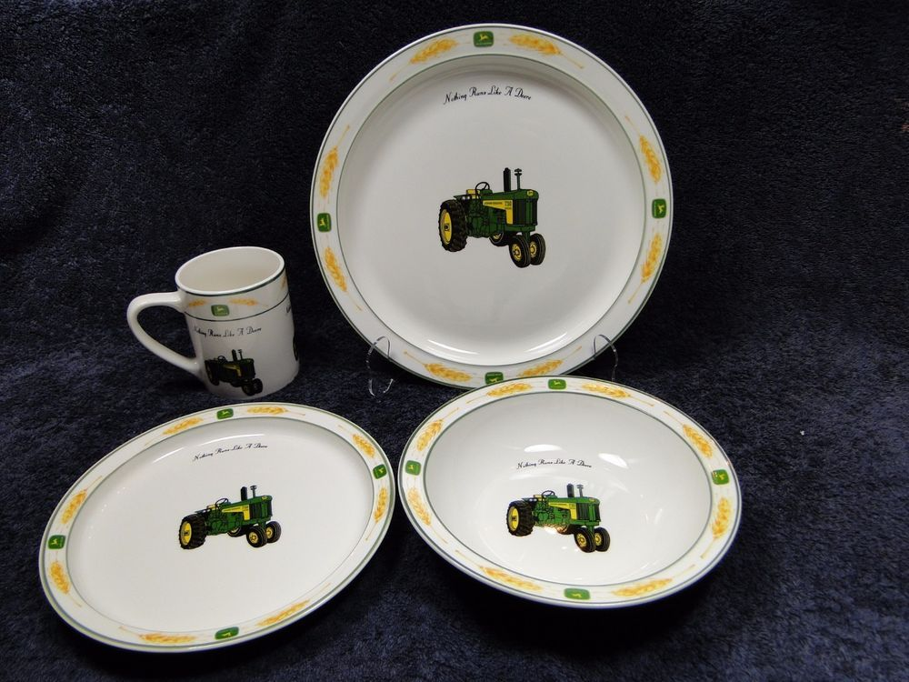 HURRY! Bidding ends in 5 Minutes! Donu0027t miss out! John Deere Amber Waves 16 Piece Dinnerware Set Dishes Plates Gibson Original Box #Gibson & HURRY! Bidding ends in 5 Minutes! Donu0027t miss out! John Deere Amber ...