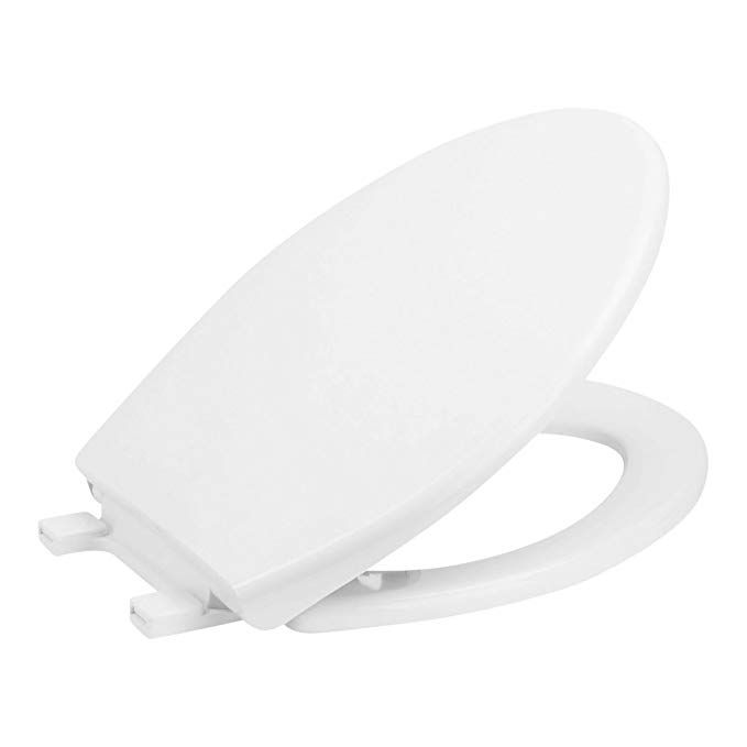 Slow Close Elongated White Plastic Toilet Seat With Quick Release