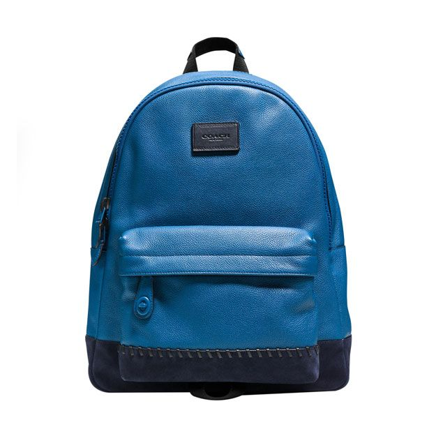e97edde5f38 MODERN VARSITY CAMPUS BACKPACK   COACH - Denim and midnight blue pebble  leather campus backpack with sporty baseball stitching