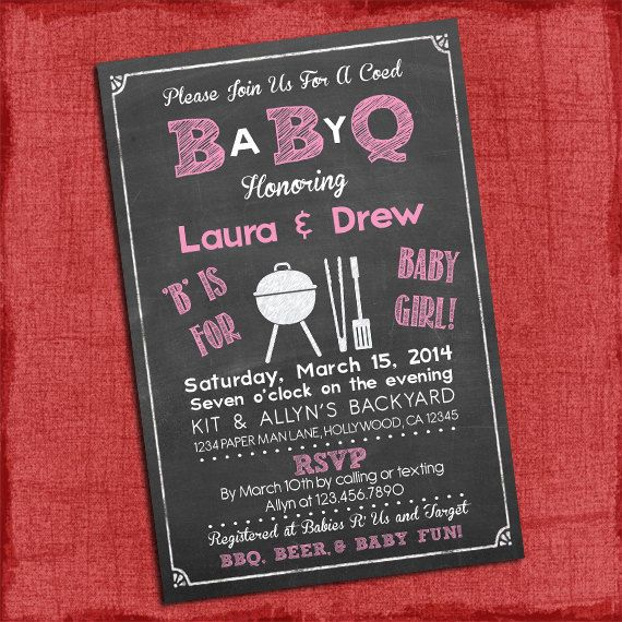 10 Best images about Baby Q Invitations on Pinterest | Baby shower ...