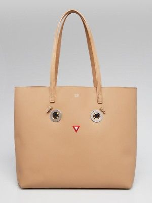 9743cffe5059 Fendi Beige Smooth Leather Hypnoteyes Shopping Tote Bag